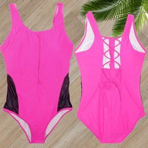 NWOT HOT PINK ZIP FRONT ONE PIECE SWIMSUIT SIZE L